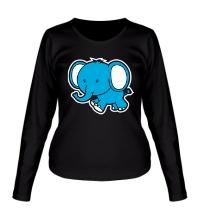 Женский лонгслив Голубой слоник