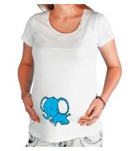 Футболка для беременной Голубой слоник