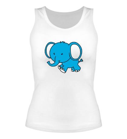 Женская майка Голубой слоник
