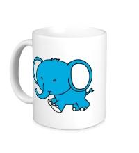 Керамическая кружка Голубой слоник