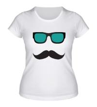 Женская футболка Усы в очках