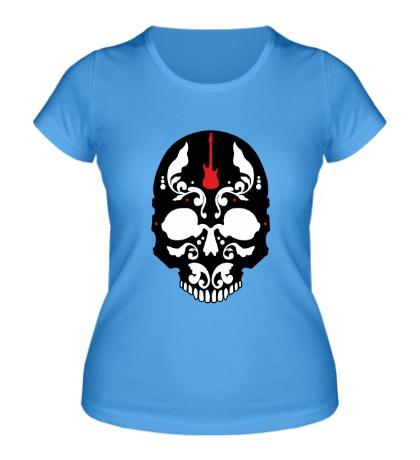 Женская футболка «Череп металиста»