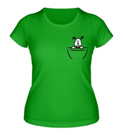 Женская футболка Собачка в кармане