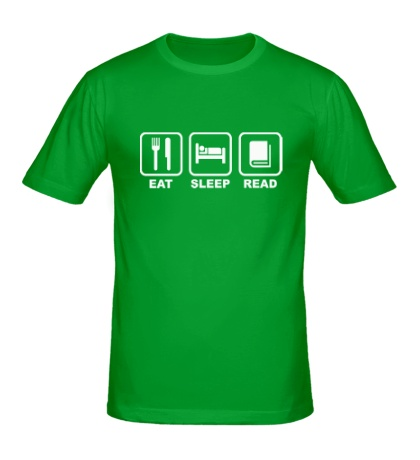 Мужская футболка «Еда, сон и чтение»