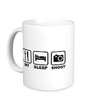 Керамическая кружка Eat Sleep Shoot