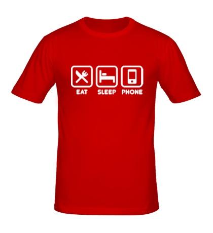 Мужская футболка Eat sleep phone