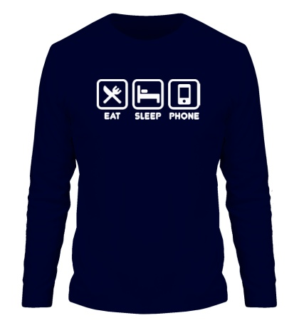 Мужской лонгслив Eat sleep phone