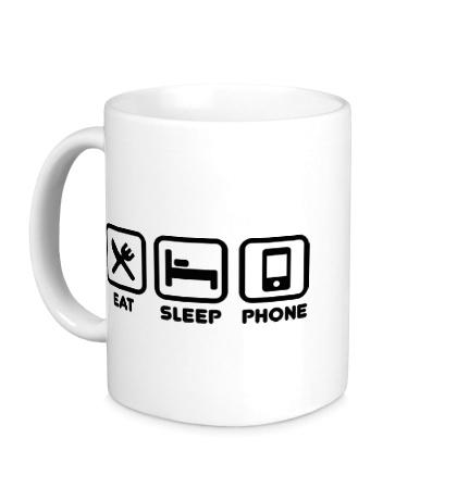 Керамическая кружка Eat sleep phone