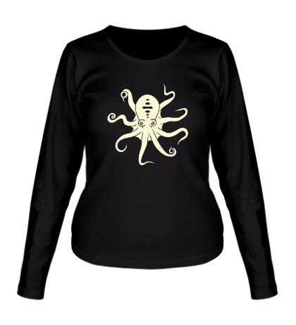 Женский лонгслив Гигантский осьминог, свет