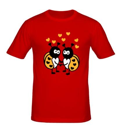 Мужская футболка Влюбленные божьи коровки