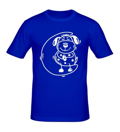 Мужская футболка Песик на луне