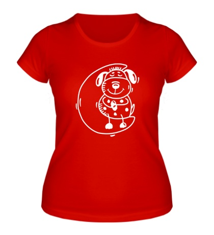 Женская футболка «Песик на луне»