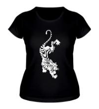 Женская футболка Падающий тигр