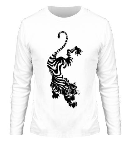 Мужской лонгслив Падающий тигр