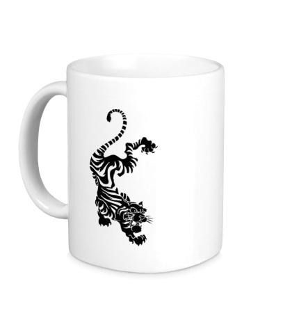 Керамическая кружка «Падающий тигр»