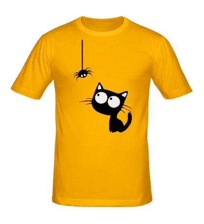 Мужская футболка «Кот и паучок»