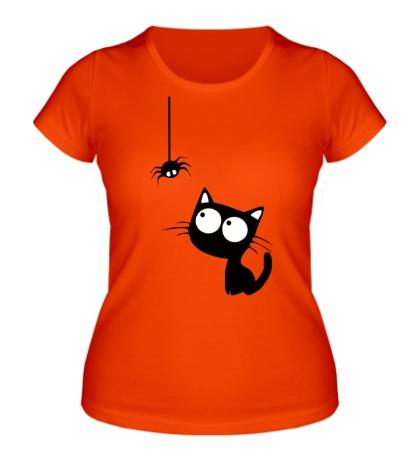 Женская футболка Кот и паучок