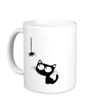 Керамическая кружка Кот и паучок