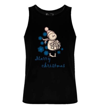 Мужская майка Snowman: Merry Christmas
