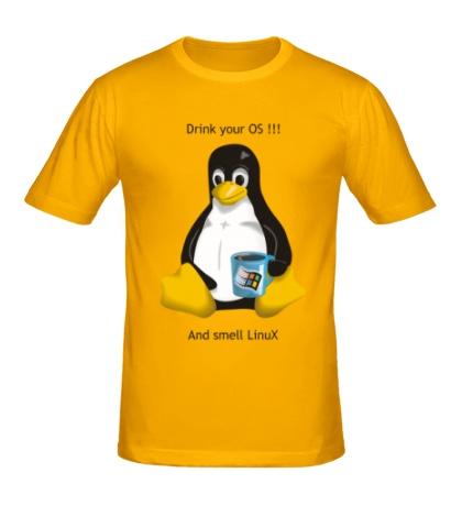Мужская футболка Smells Linux