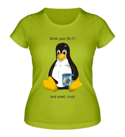 Женская футболка Smells Linux