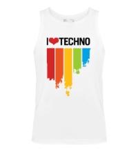 Мужская майка I love Techno Colors