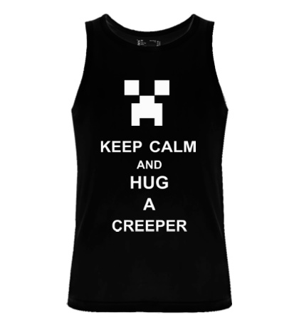 Мужская майка Keep calm and hug a creeper