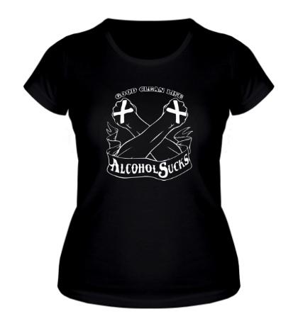Женская футболка SXe: Alcohol Sucks