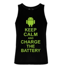 Мужская майка Keep calm and charge the battery android
