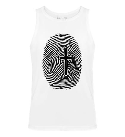 Мужская майка Отпечаток пальца с крестом