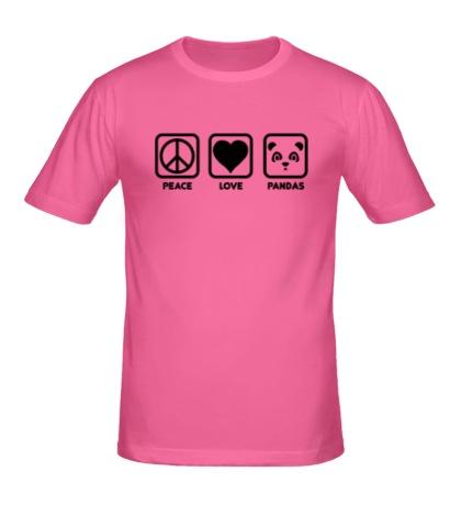 Мужская футболка Peace Love Pandas