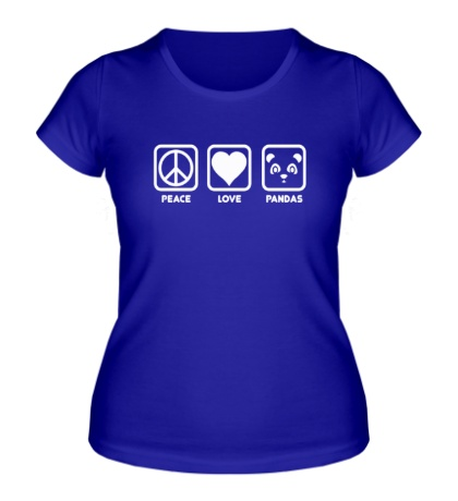 Женская футболка Peace Love Pandas