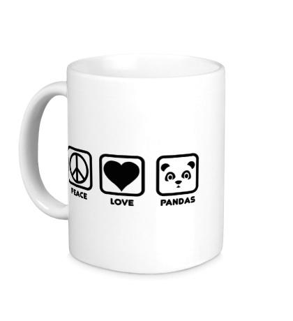 Керамическая кружка Peace Love Pandas