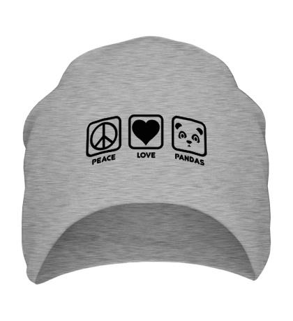 Шапка Peace Love Pandas