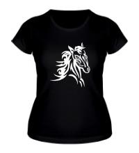 Женская футболка Тату голова лошади