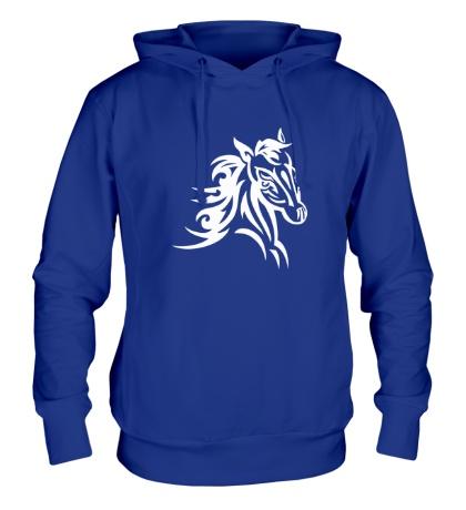 Толстовка с капюшоном Тату голова лошади