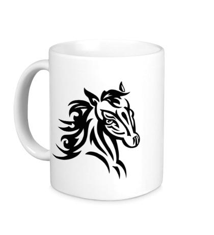 Керамическая кружка Тату голова лошади