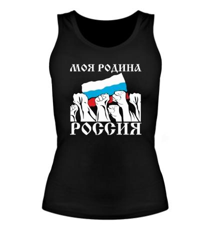 Женская майка Россия, родина моя