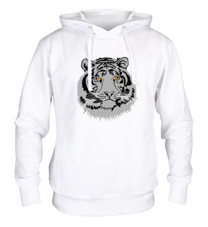 Толстовка с капюшоном Серый тигр