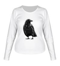 Женский лонгслив Черный ворон