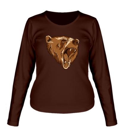 Женский лонгслив Разъяренный медведь