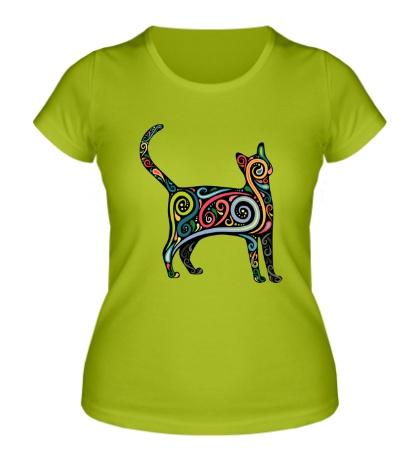 Женская футболка Декоративный кот
