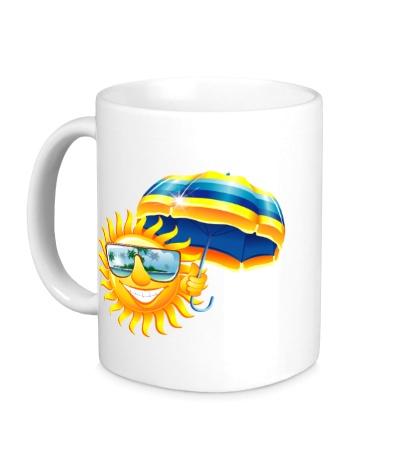 Керамическая кружка Солнце с зонтом