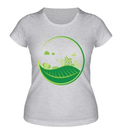 Женская футболка Эко город