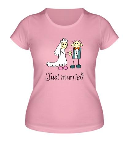 Женская футболка Радостные молодожены