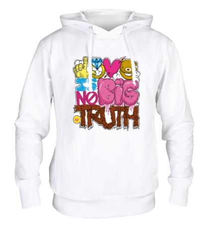 Толстовка с капюшоном Love is big no truth