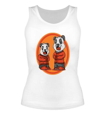 Женская майка Смешные панды