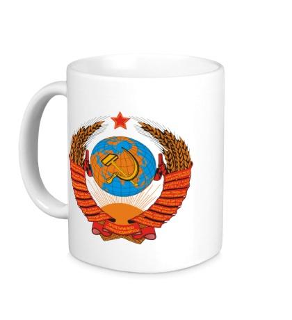 Керамическая кружка Звездный герб СССР