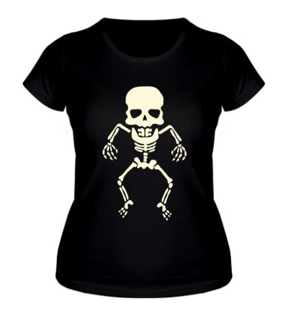 Женская футболка Скелет малыша, свет