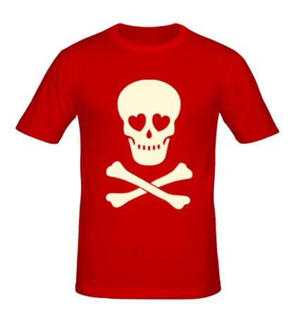 Мужская футболка Череп влюбленного, свет